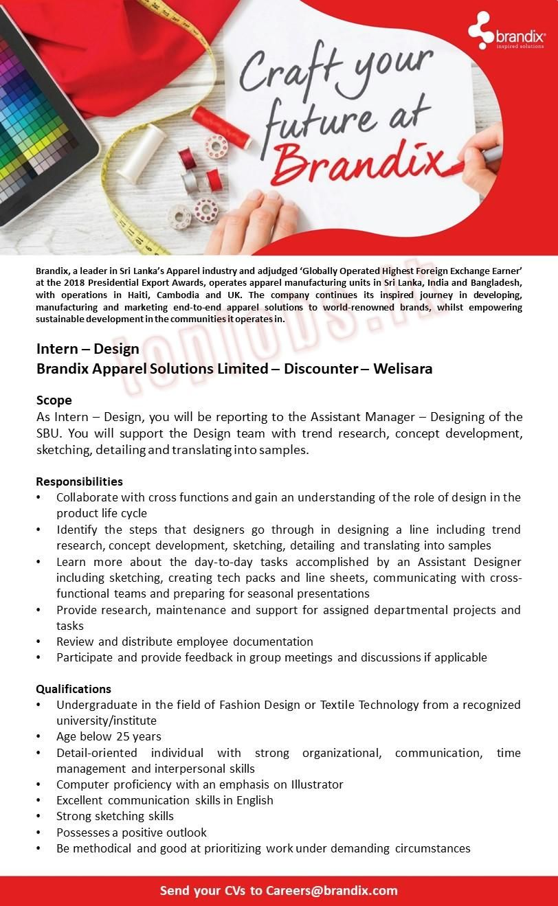Internship Design Brandix Internship Job