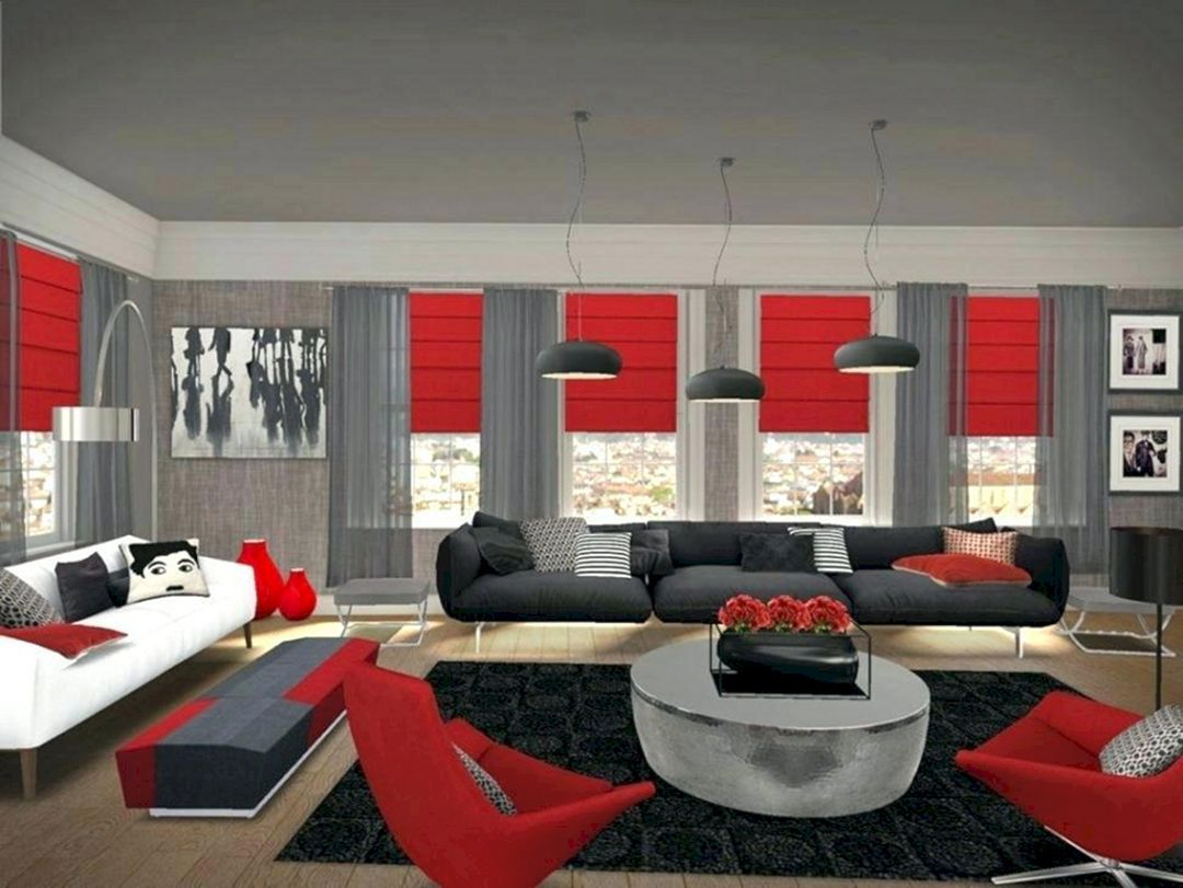 Red Living Room Design Ideas Teracee In 2020 Living Room Decor Gray Grey And Red Living Room Black Living Room Decor
