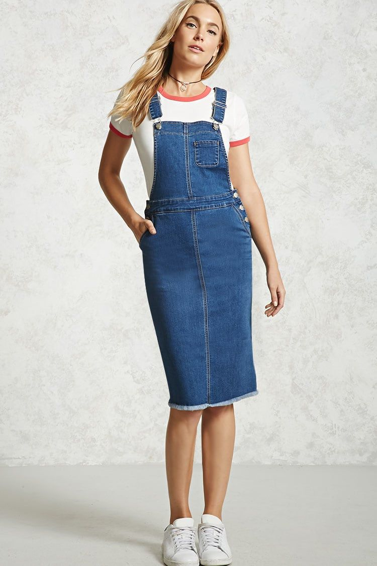 9f331fca43 Frayed Denim Overall Dress