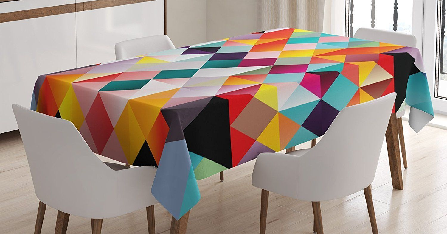 Amazon Com Ambesonne Psychedelic Decor Tablecloth Retro Technology Theme Abstract Geometric Vibrant Pattern 90 Table Covers Table Cloth Tablecloths For Sale