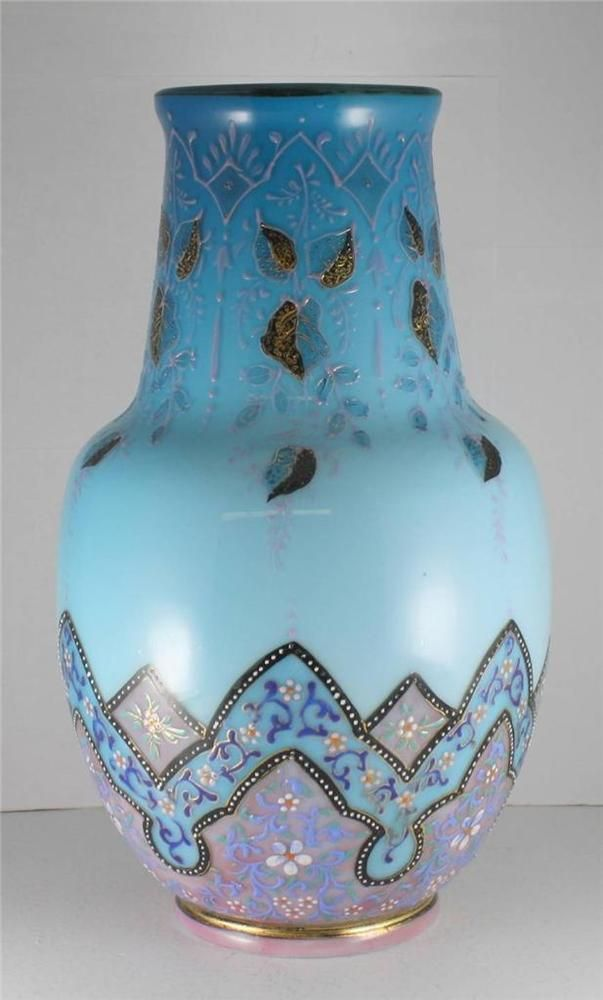 Periods & Styles Pair Of Vases Glass Enamel Art Nouveau Deco Flower Stylised Glassware 1900