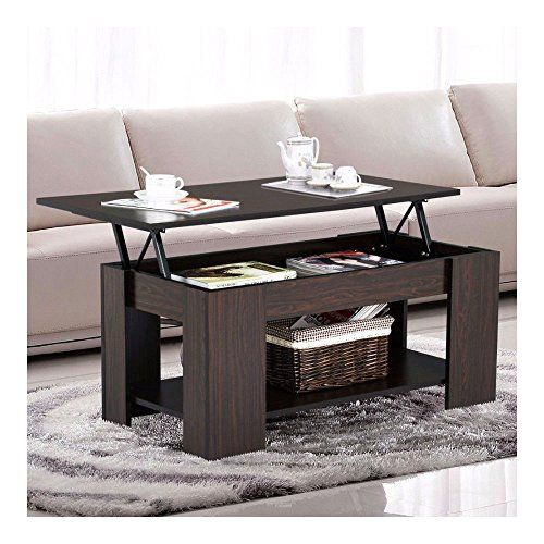Espresso Modern Wood Lift Top Coffee End Table with Storage Space