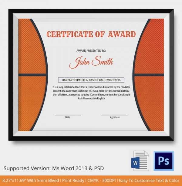 Basketball Award Certificate Template  Free Basketball