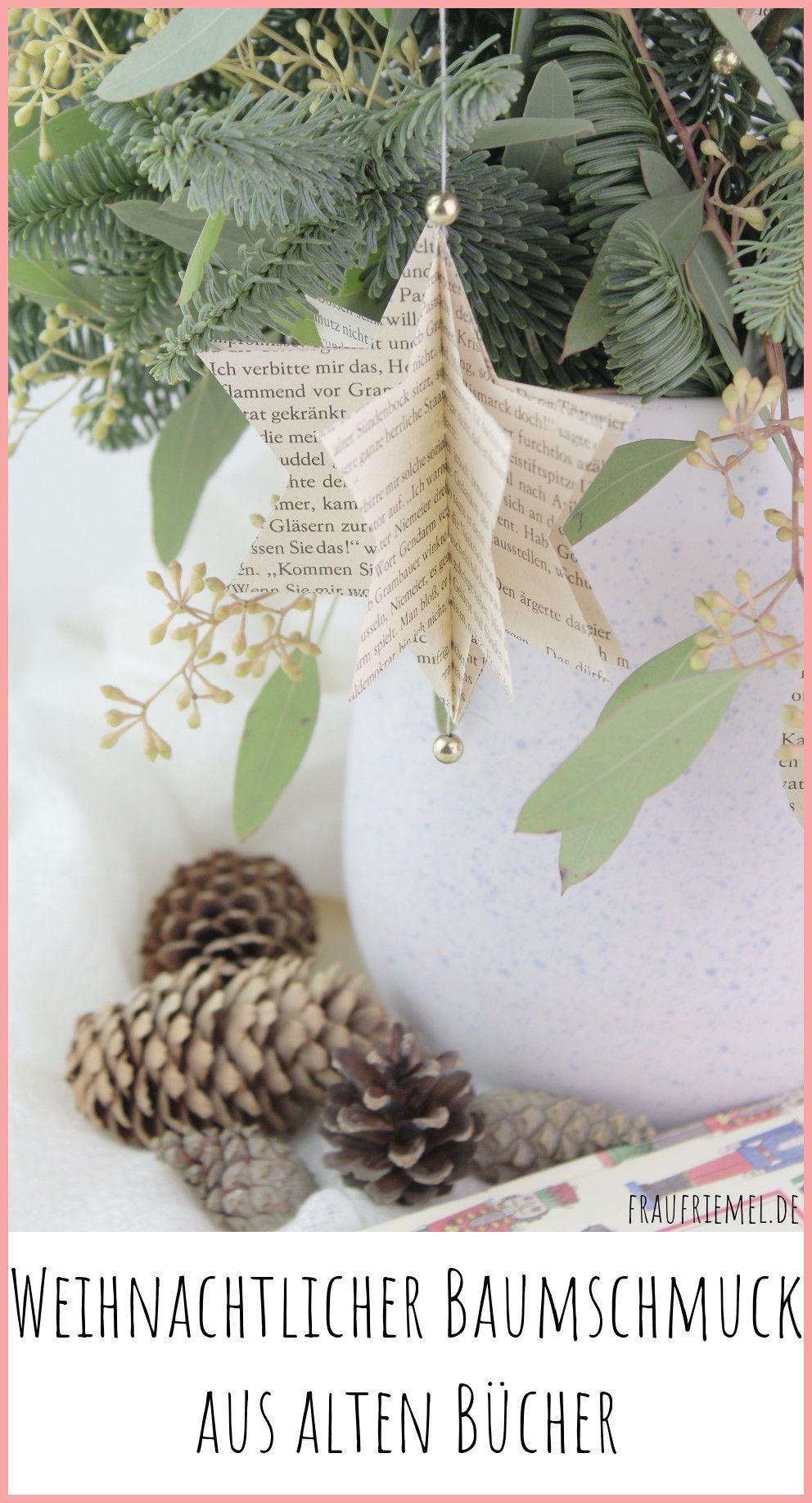 Weihnachtsbaumschmuck selber machen aus alten Büchern | frau friemel