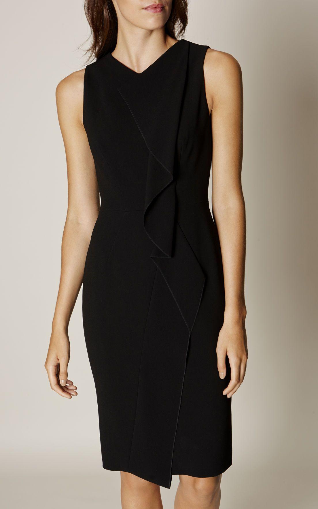 f091306eea Karen Millen, SUBTLE RUFFLE DRESS Black   km   Dresses, Ruffle dress ...
