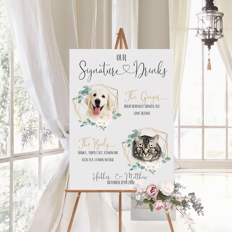 Pet Signature Drinks Sign, Wedding Signature Drinks Sign