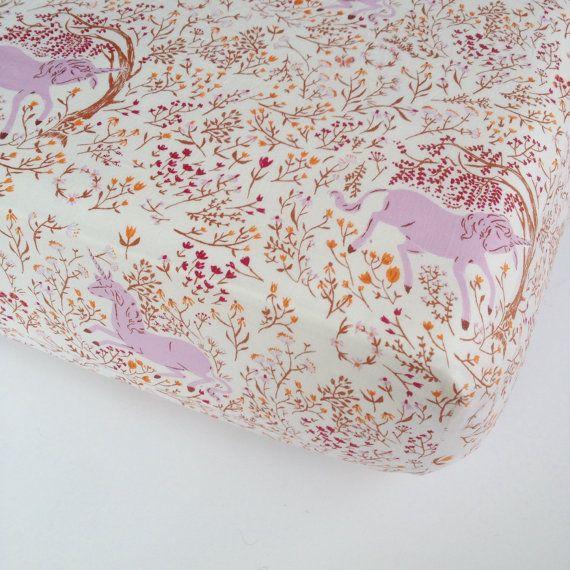 unicorn crib sheet baby bedding - mini crib sheets /purple
