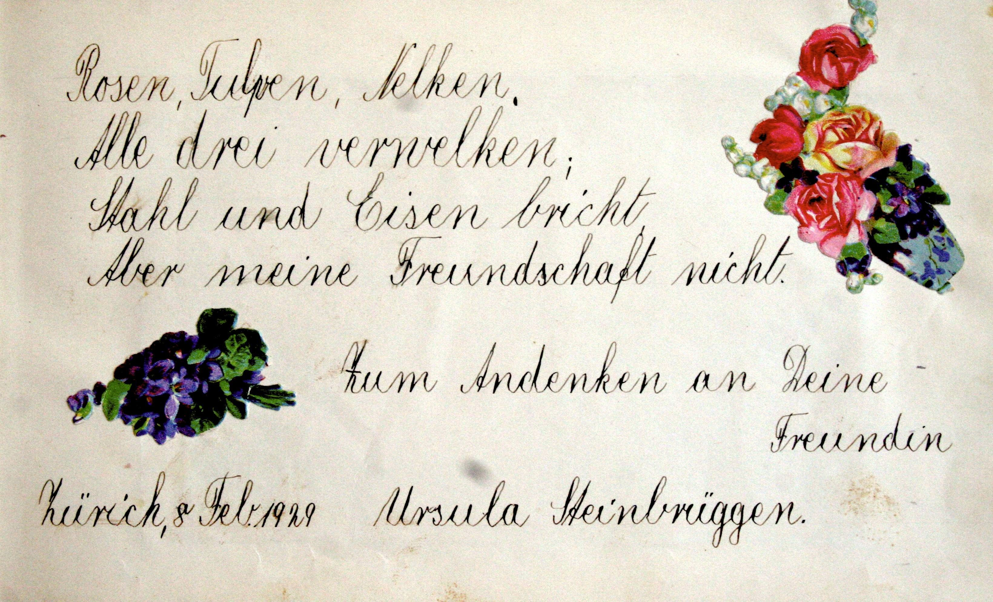 ... Poesiespruch Rosen Tulpen Nelken Alle Drei Verwelken Stahl Ritter Rost  Freundebuch ...