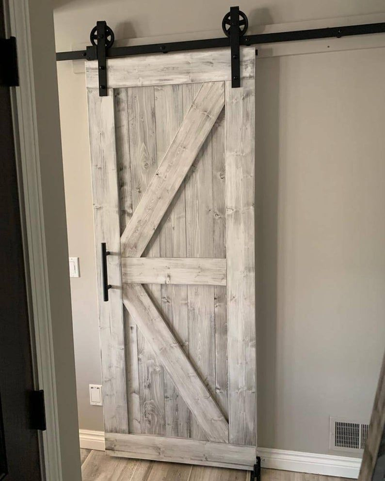 Framed British Brace Style Rustic Sliding Barn Door 84 X36 X1 5 Distressed White Hardware Opt In 2020 House Paint Exterior Barnwood Doors Sliding Closet Doors