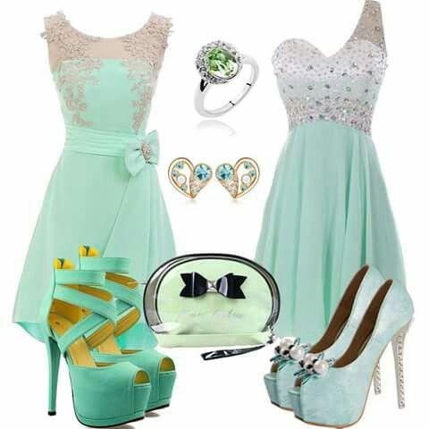 Zapatos de fiesta para vestido verde agua