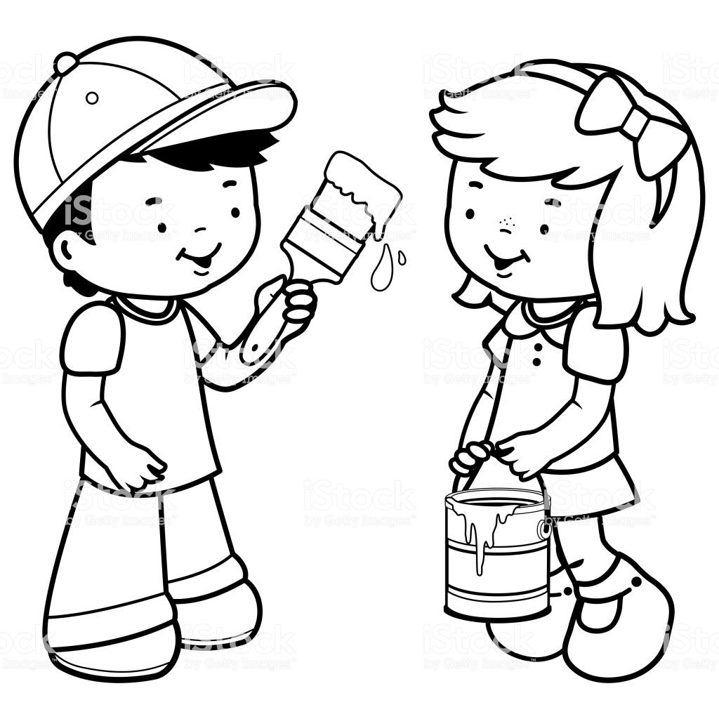Boy Painting With A Paint Brush And Girl Holding A Paint