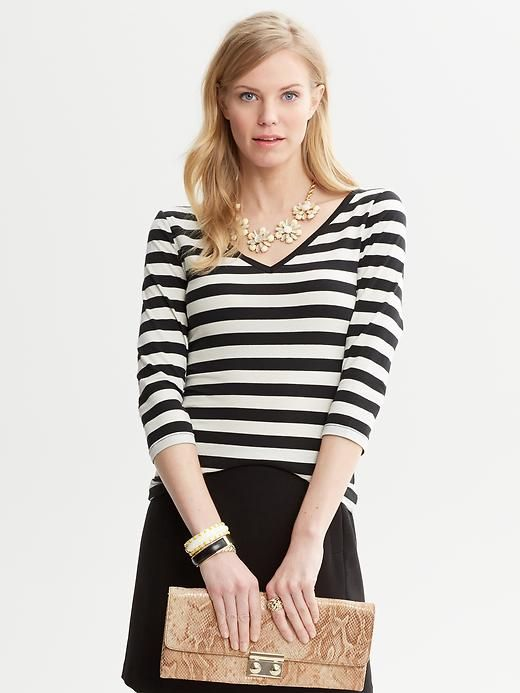 Striped Double V-Neck Top