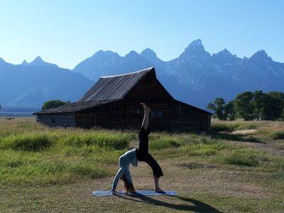 """yoga poses around the world """"practicing eka pada urdhva"""