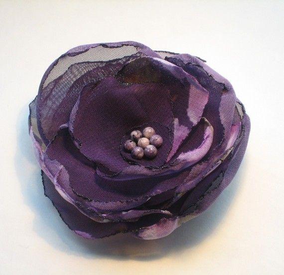 Purple Flower Hair Clip or Brooch Plum Chiffon by empressbarrettes, $18.00