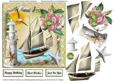 Summer Sailing Card Topper Decoupage on Craftsuprint - Add To Basket!