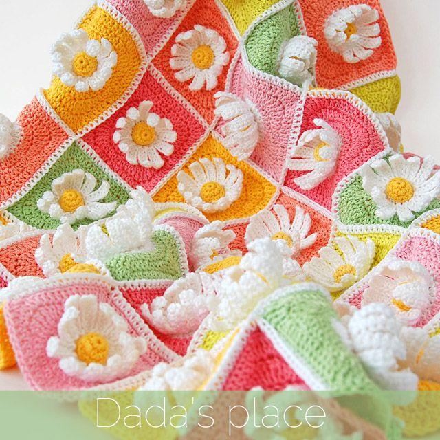 Patrón manta de ganchillo de la margarita Granny Square   flowers ...