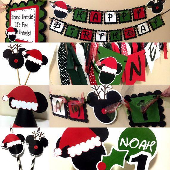 Inspirado en mickey navidad o cumplea os fiesta sombreros for Adornos navidenos mickey mouse