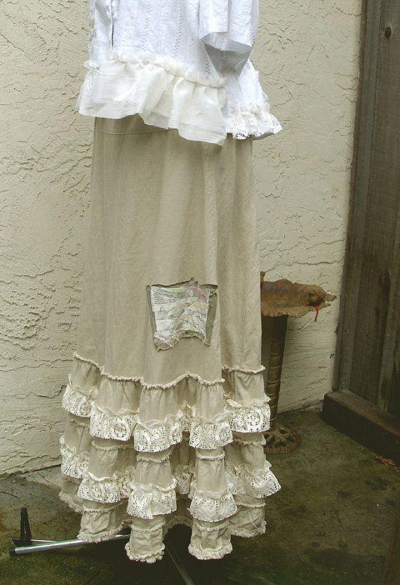 Bohemian Maxi Linen Skirt Eco Friendly Mori girls Gypsy ...