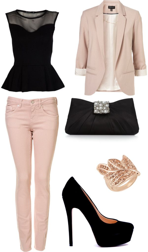 This is an edgy take on the feminine color blush. Blush can sometimes be reminiscent of little girls, but by pairing it with pops of black it's immediately transformed into a mature, sexy look. This outfit is perfect for a casual dinner party or night on the town.