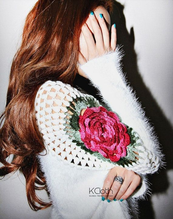 Embroidery Rose Sweater K1321 Casua.. | Fashion knit sweater