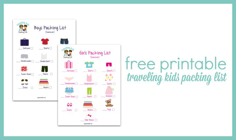 Free Printable Traveling Kids Packing List Great Ideas - Kids