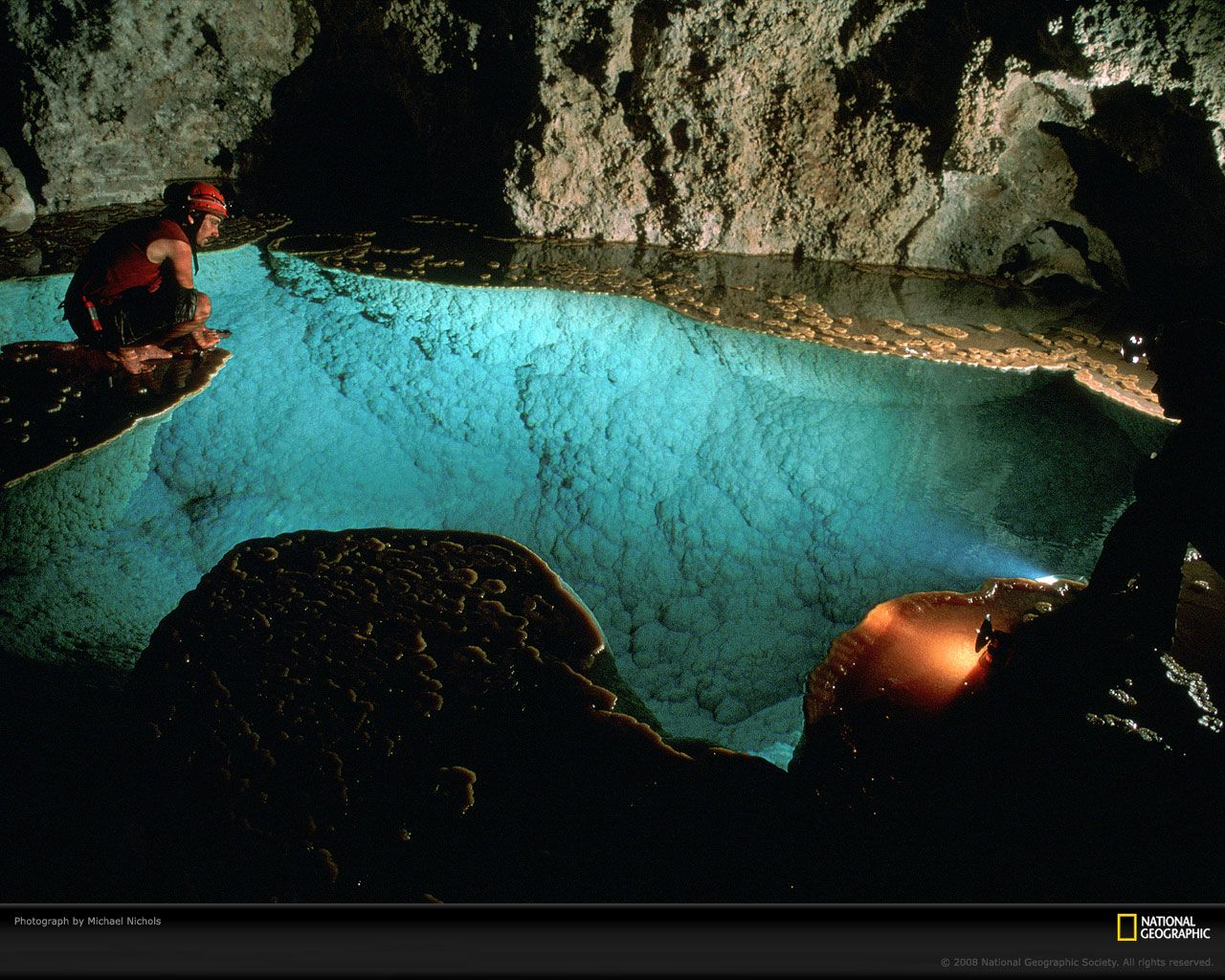 Lake Chandelier in Lechuguilla Cave, Carlsbad Caverns National Park, New Mexico.