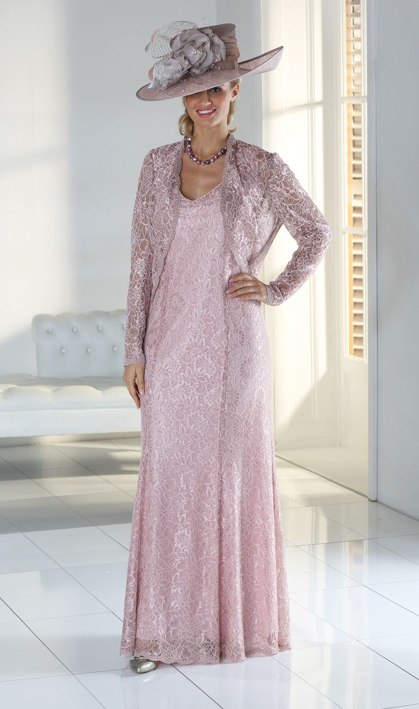 308fc38699 Buy Florentyna Dawn Dusky Pink Long Lace Gabriella Dress with Matching Lace  Scallop Edged Jacket in Mother of the Bride.