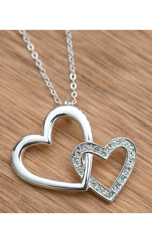 7b8935fe6f1 Silver Double Heart Necklace | Ékszerek | Double heart necklace ...