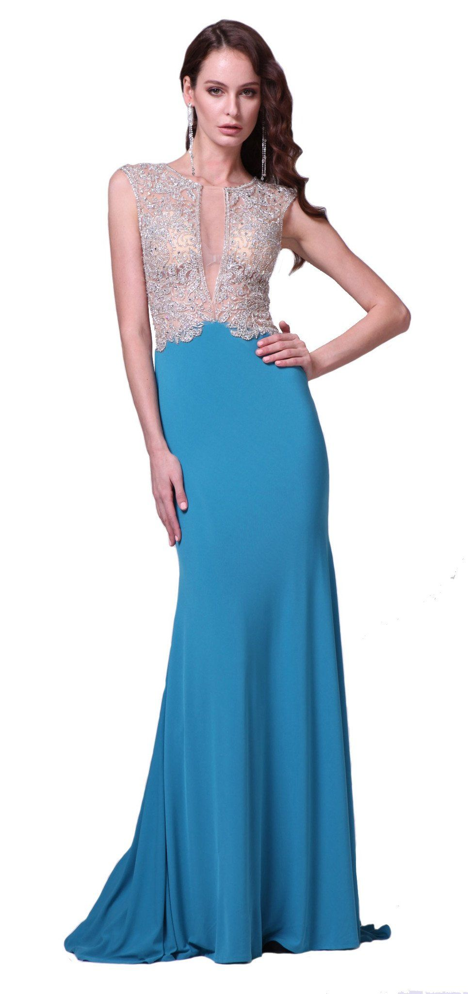CD8771 Dress with High Neck and Illusion Keyhole Detail | Products ...