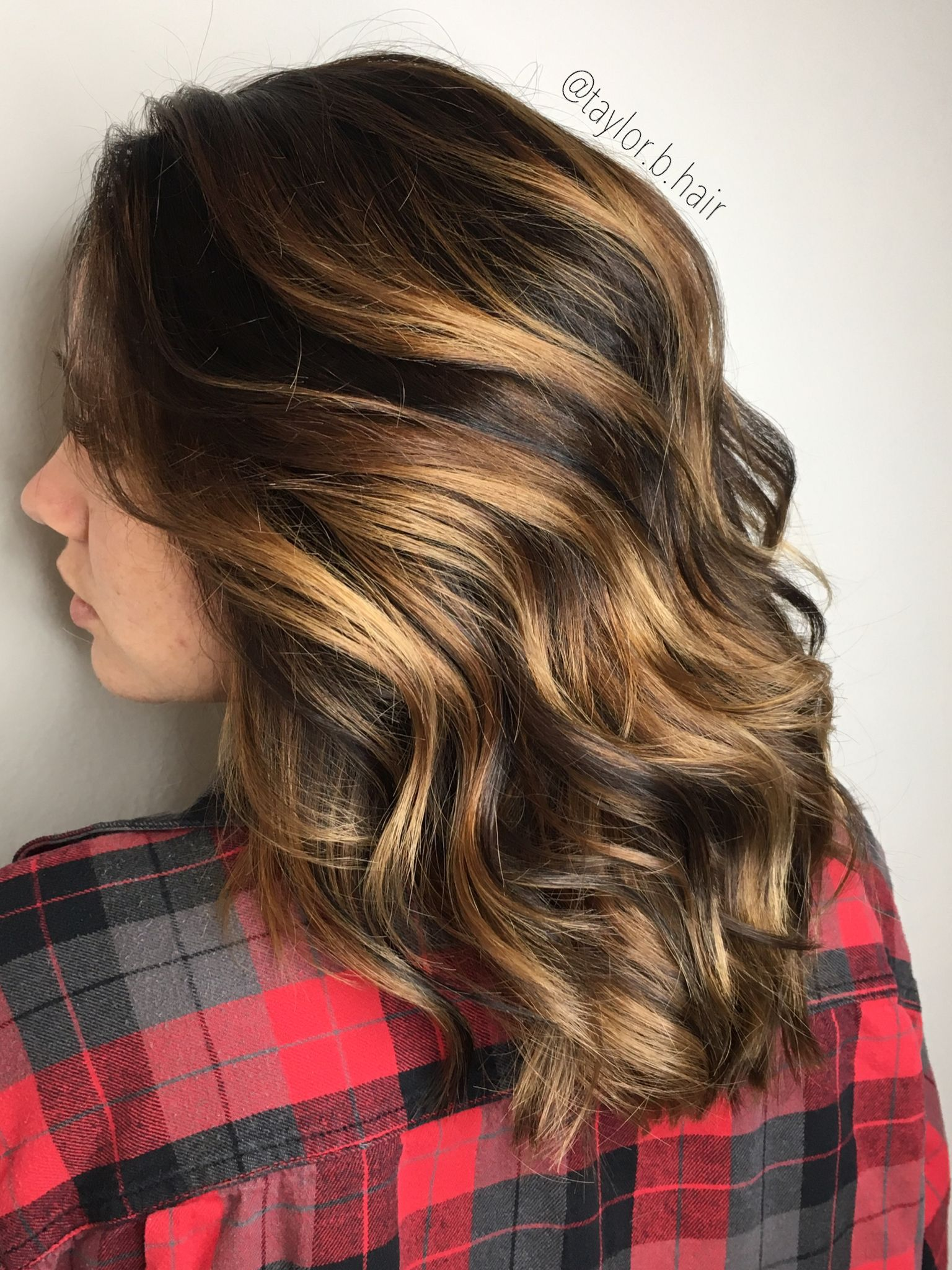 Short Curly Hair Caramel Balayage Rooted Brunette Brunette