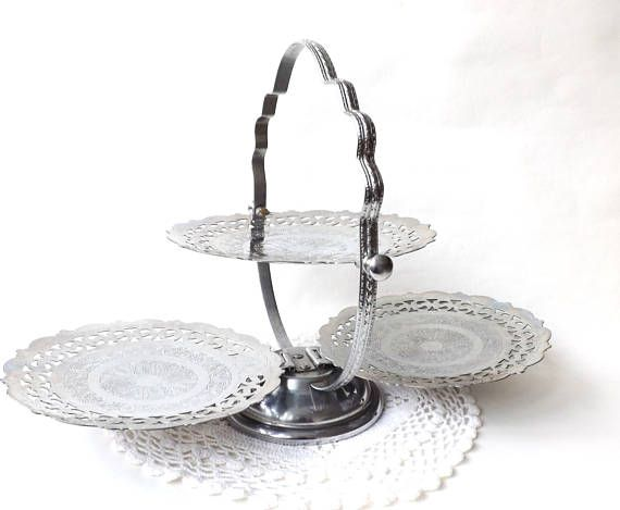 Cool Vintage Folding Cake Stand 1950S Chrome 3 Tier Serving Stand Beutiful Home Inspiration Cosmmahrainfo