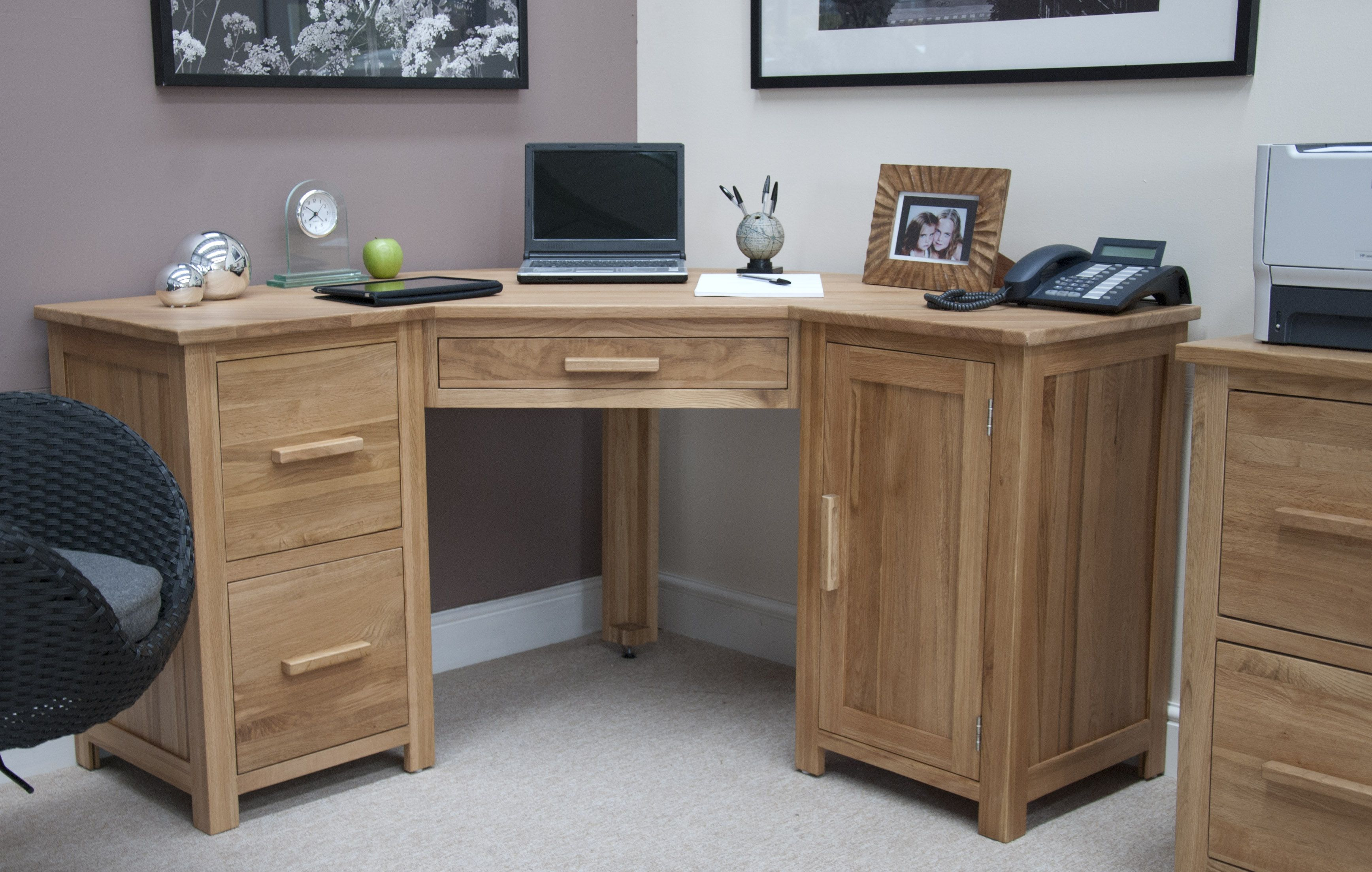 Wonderful Corner Desk | Opus Oak Corner Computer Desk   A World Of Furniture