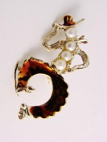 Vintage Estate Silver Tone Enamel Pearls Dancing Cowboy Brooch Pin $7.99