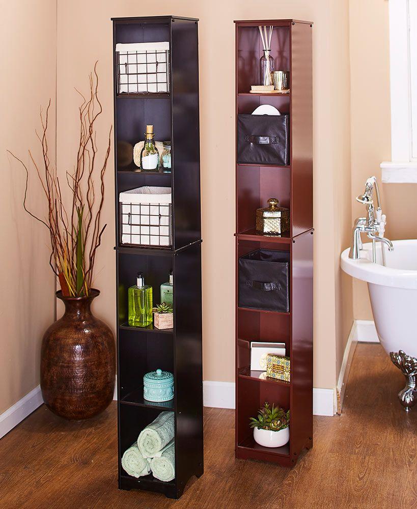slim storage tower or basket set  corner storage cabinet
