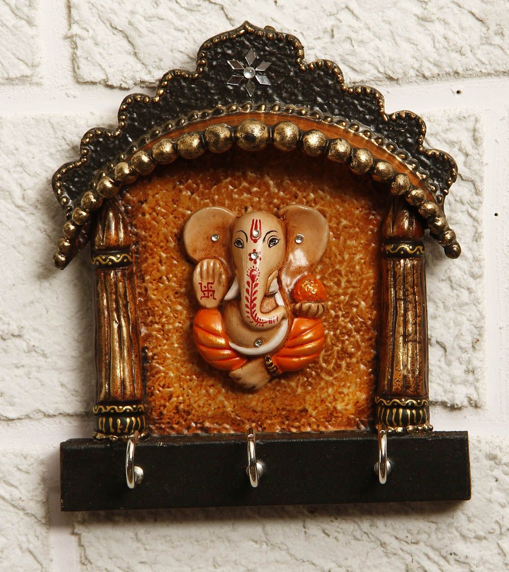 brown paper mache ganesha key holder indian ethnic home decor
