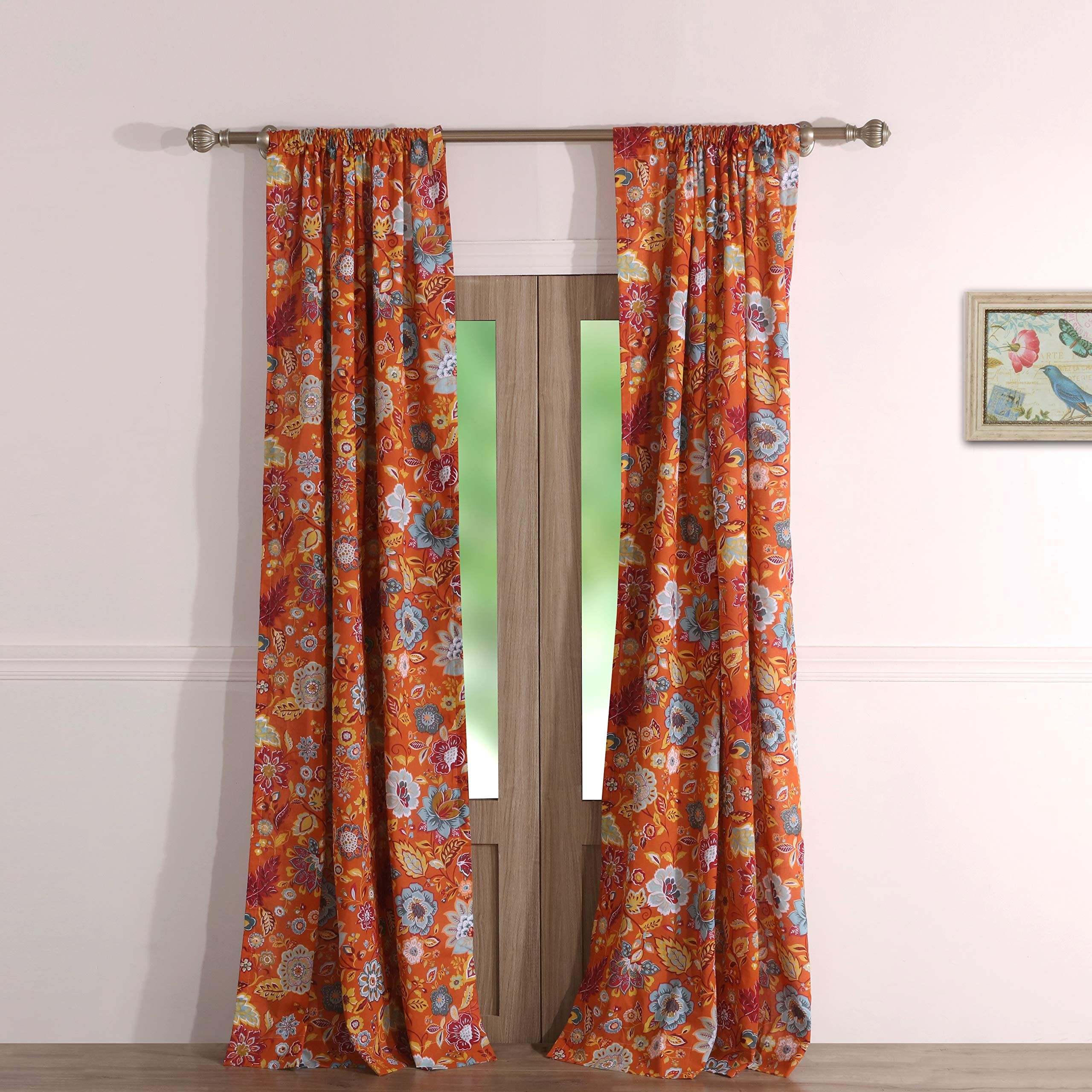 Greenland Home Astoria Curtain Panel Pair 84 Inch L Spice In