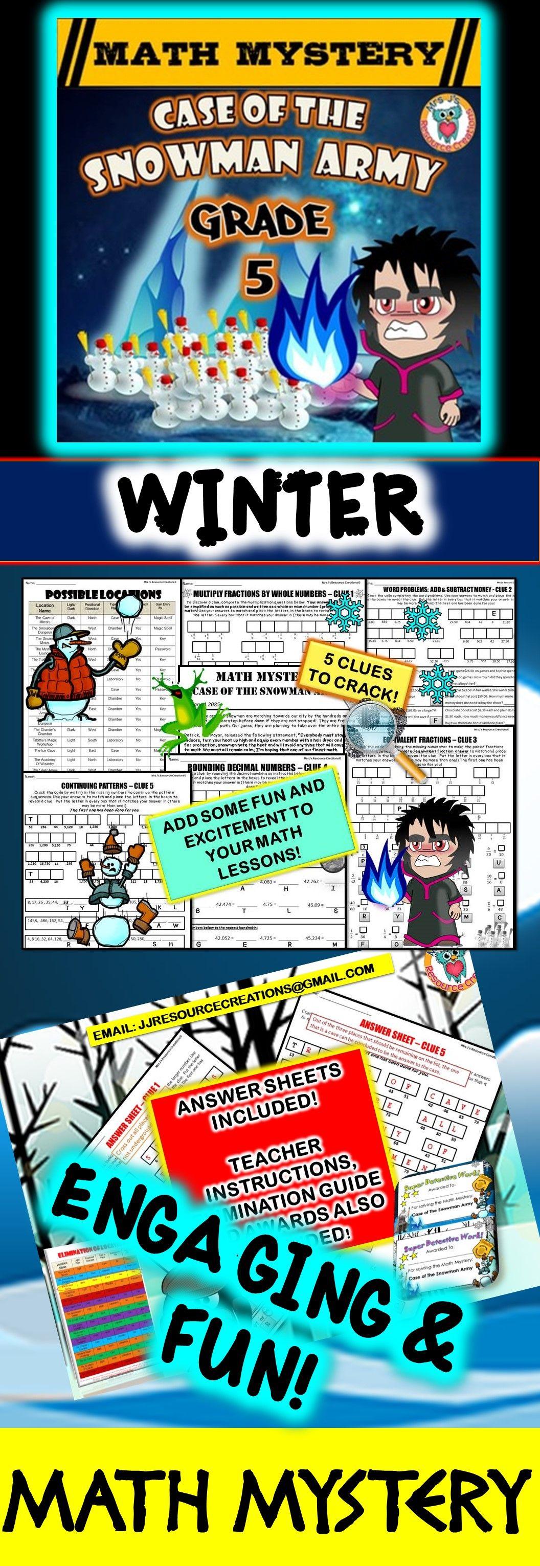 5th Grade Winter Math Activity: Math Mystery - Case of the Snowman ...