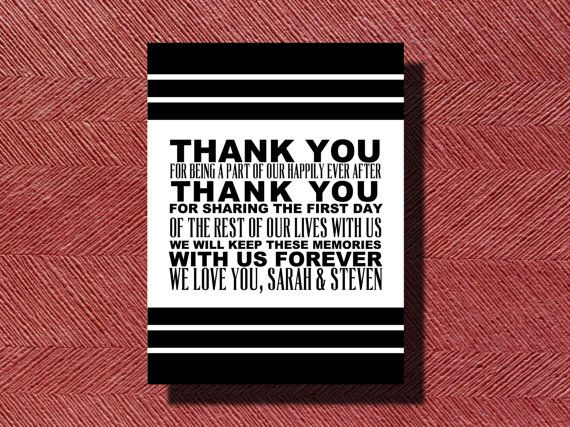 wedding day thank you card sign or poster with images