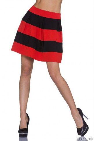 Ριγέ κλος μίνι φούστα - Μαύρο Κόκκινο  ff9c50369b7