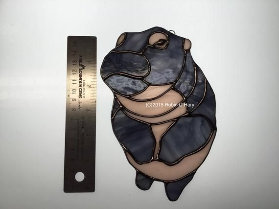 Glass Baby Hippo Suncatcher  Stained Glass Original and Exclusive Design Handmade Glass Hippo #babyhippo