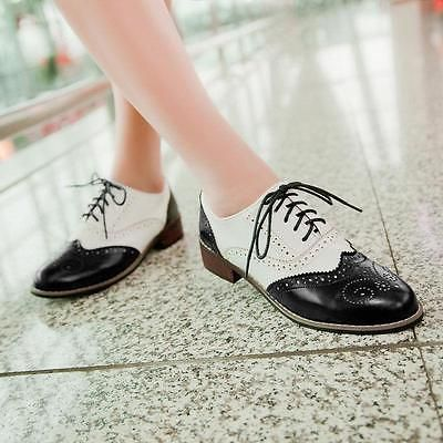 Womens ladies girls flat casual cut out shoes work school brogues sizes 3-8