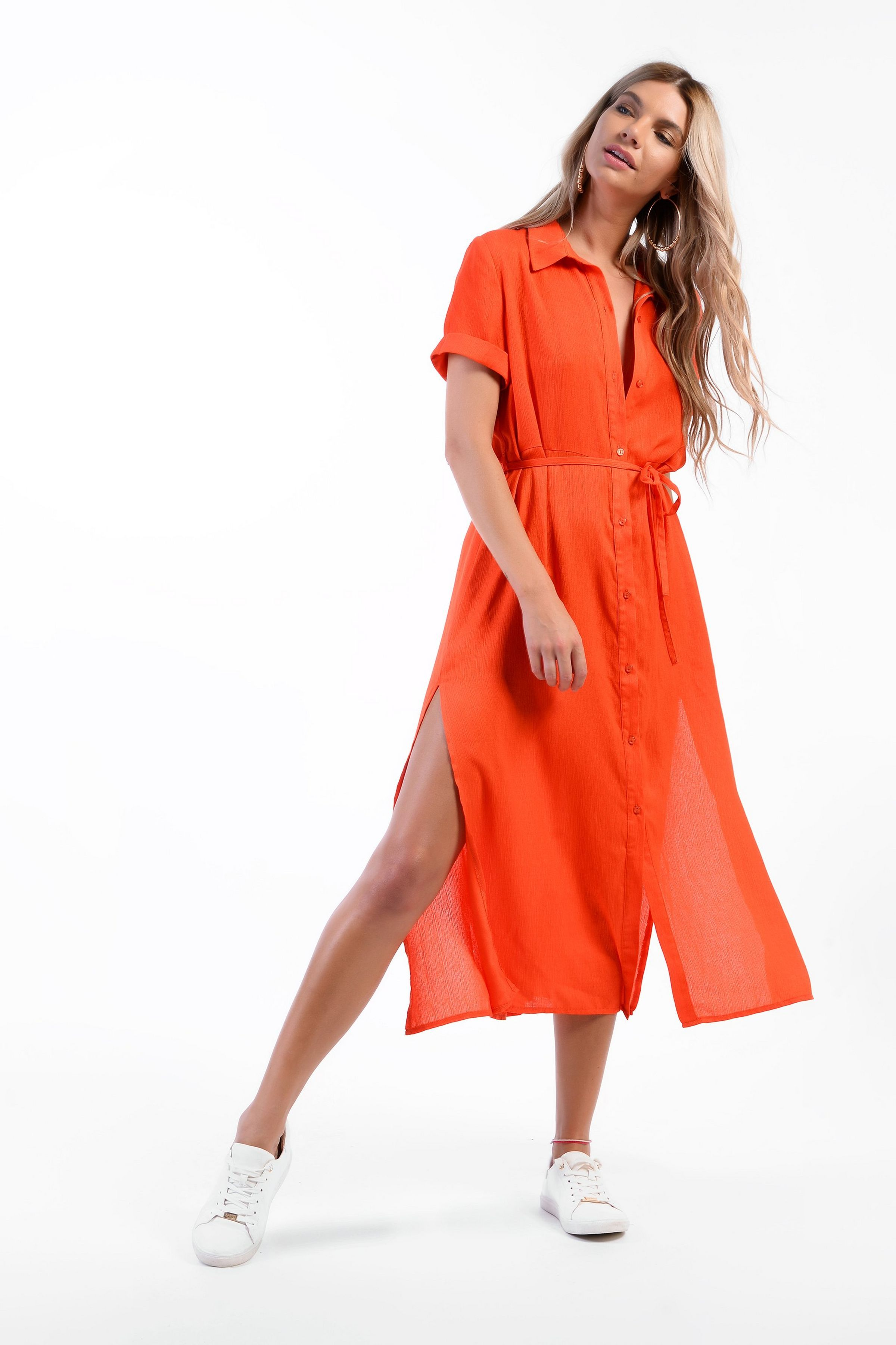 Button Front Dress By Glamorous Tall Dresses Midi Dress Party Button Front Dress [ 3600 x 2400 Pixel ]