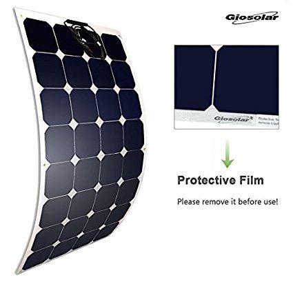 Giosolar Pannello solare fotovoltaico monocristallino flessibile ad alta efficienza 100 W 12 V per camper, roulotte, camper, barche e yacht.