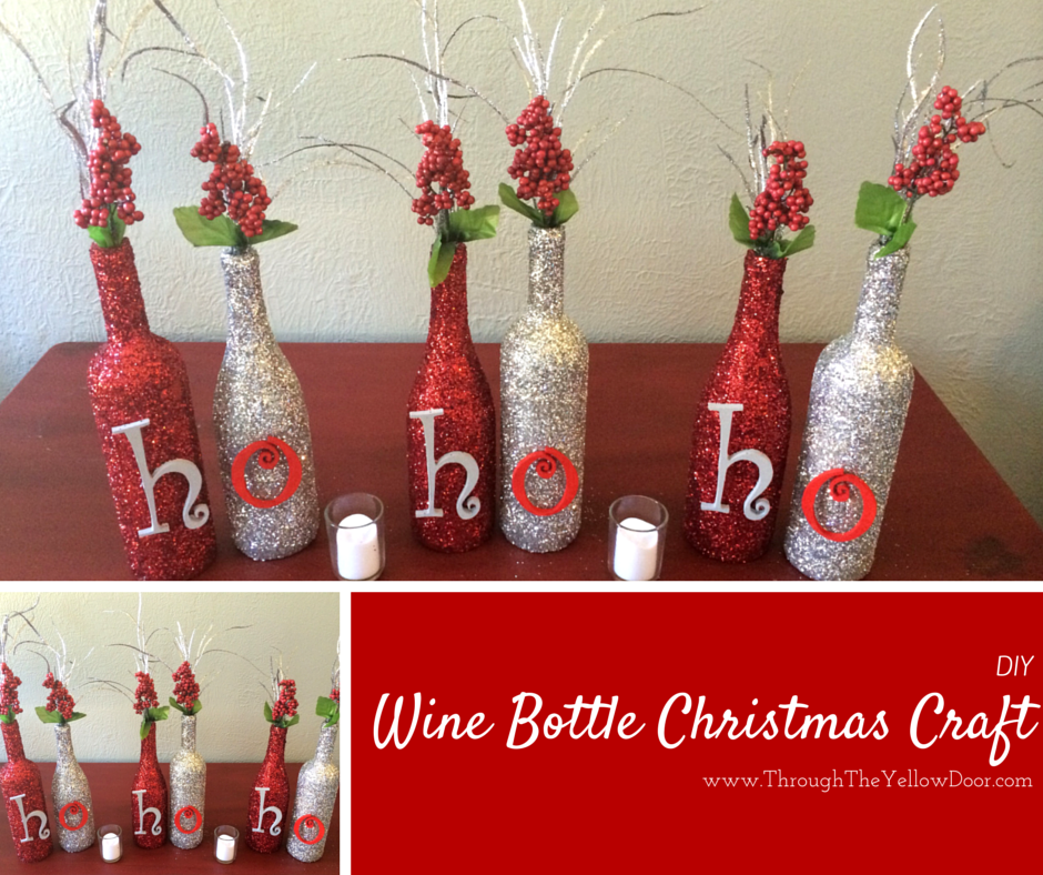 Christmas Bottle Decorations Wine Bottle #christmas Craft Using Mod Podge And Glitter