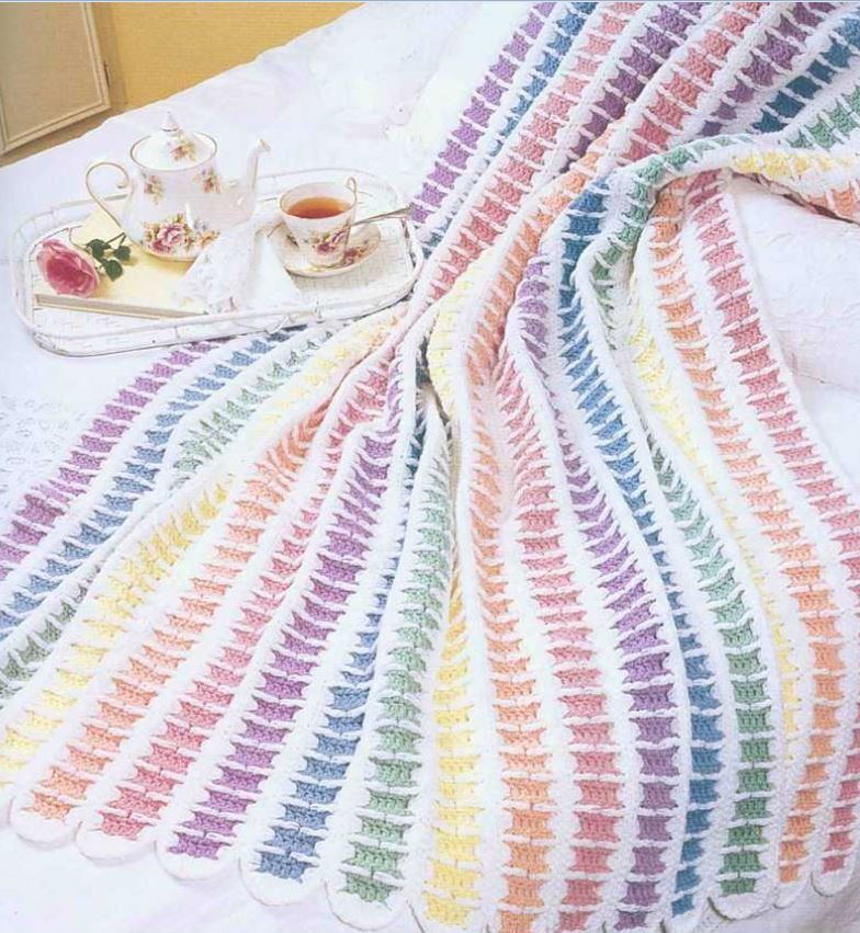 Crochet Pattern Baby Blanket Vintage Rainbow Dreams Pretty Vintage