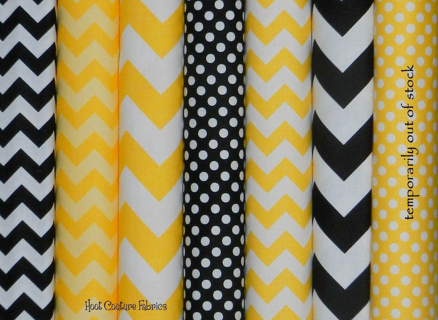 Chevron and Dots Bumble Bee black and yellow 1/4 yard (Fat Quarter ...