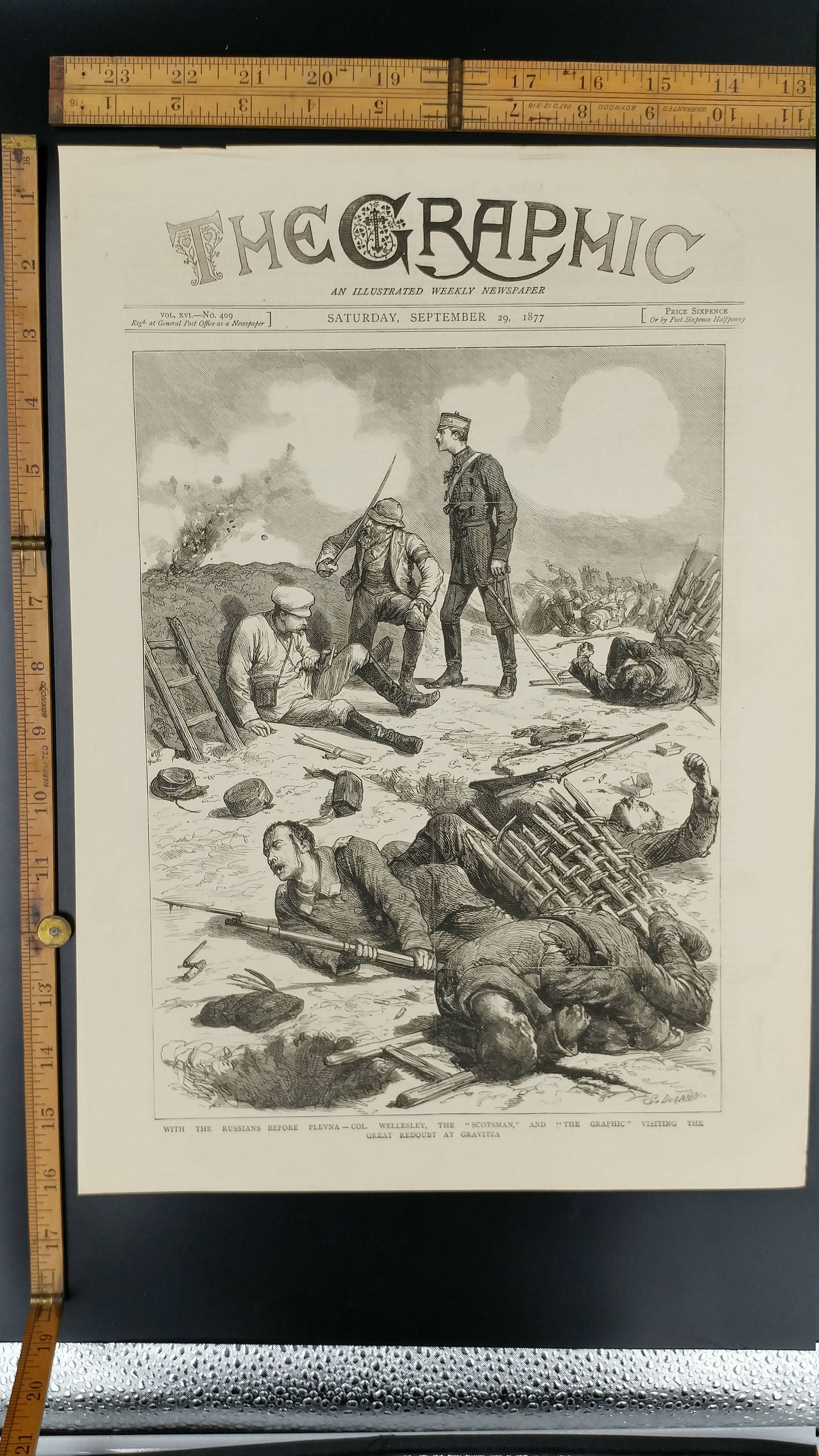 Large Antique Engraving Col Wellesley the Scotsman With the Russians before Plevna 1877 The Great Redoubt at Gravitsa Intense War