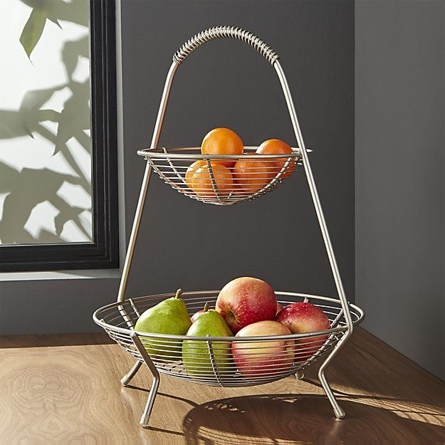 Shop Handled 2 Tier Wire Fruit Basket Display Fruits And Other Treats With Retro Flair The Perfect Basket F Wire Fruit Basket Fruit Bowl Display Fruit Basket