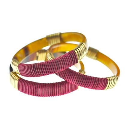 Wide Polychrome Horn Bangles | Ruma bangles; made in Kenya from recycled Ankole cow horn, recycled brass wire and Greek leather cord
