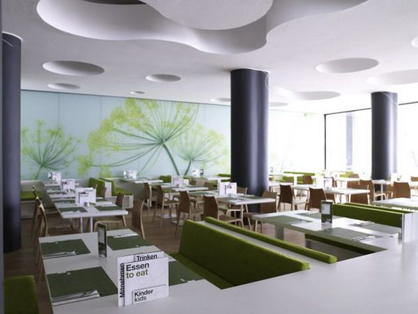 inspiring contemporary restaurant with green and white color